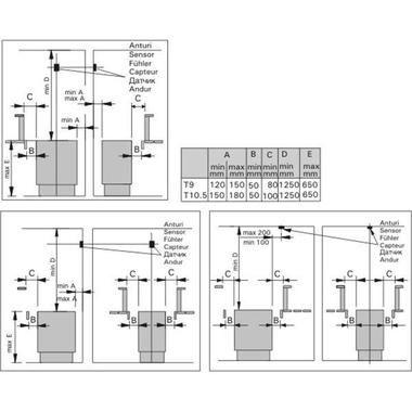 Схема присоединительных размеров электрокаменок класса Harvia Senator